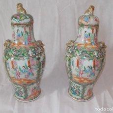 Antigüedades: ANTIGUOS JARRONES TIBORES PORCELANA CHINOS SIGLO XIX. Lote 192583921