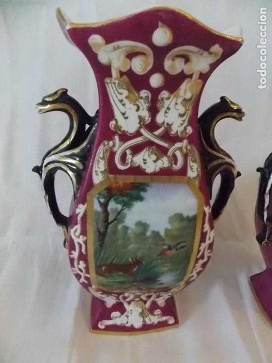 Antigüedades: ANTIGUOS JARRONES TIBOR DE PORCELANA INGLESES PINTURA DE CAZA - Foto 3 - 192604883