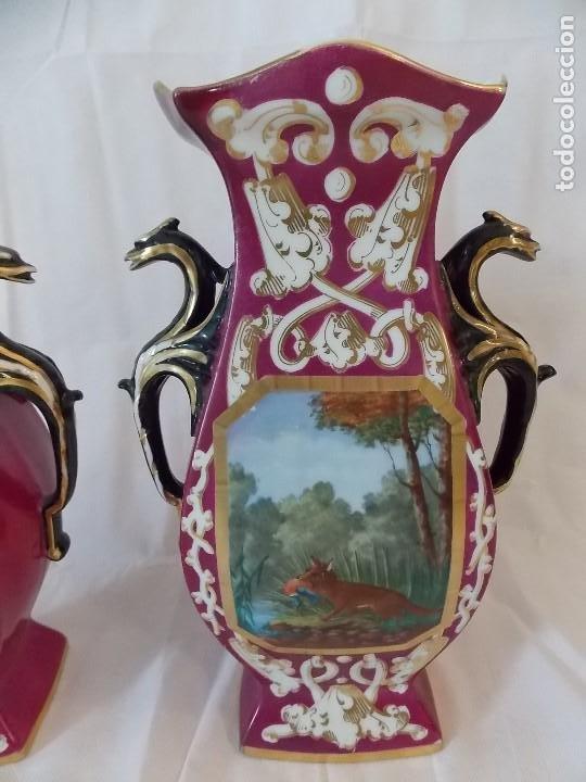 Antigüedades: ANTIGUOS JARRONES TIBOR DE PORCELANA INGLESES PINTURA DE CAZA - Foto 4 - 192604883