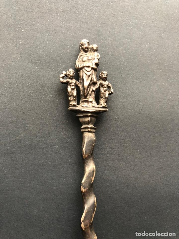 Antigüedades: Preciosa cuchara litúrgica de plata del siglo XVII con contrastes sellos de autor ¡Ver fotos! - Foto 10 - 192627192
