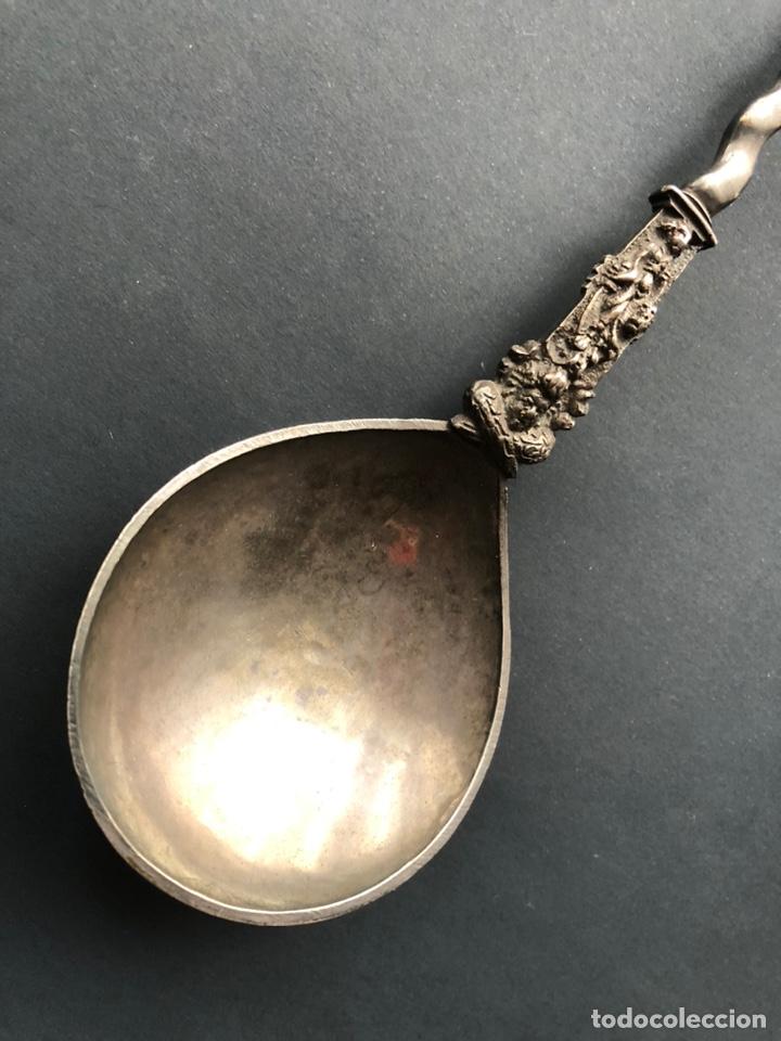 Antigüedades: Preciosa cuchara litúrgica de plata del siglo XVII con contrastes sellos de autor ¡Ver fotos! - Foto 15 - 192627192