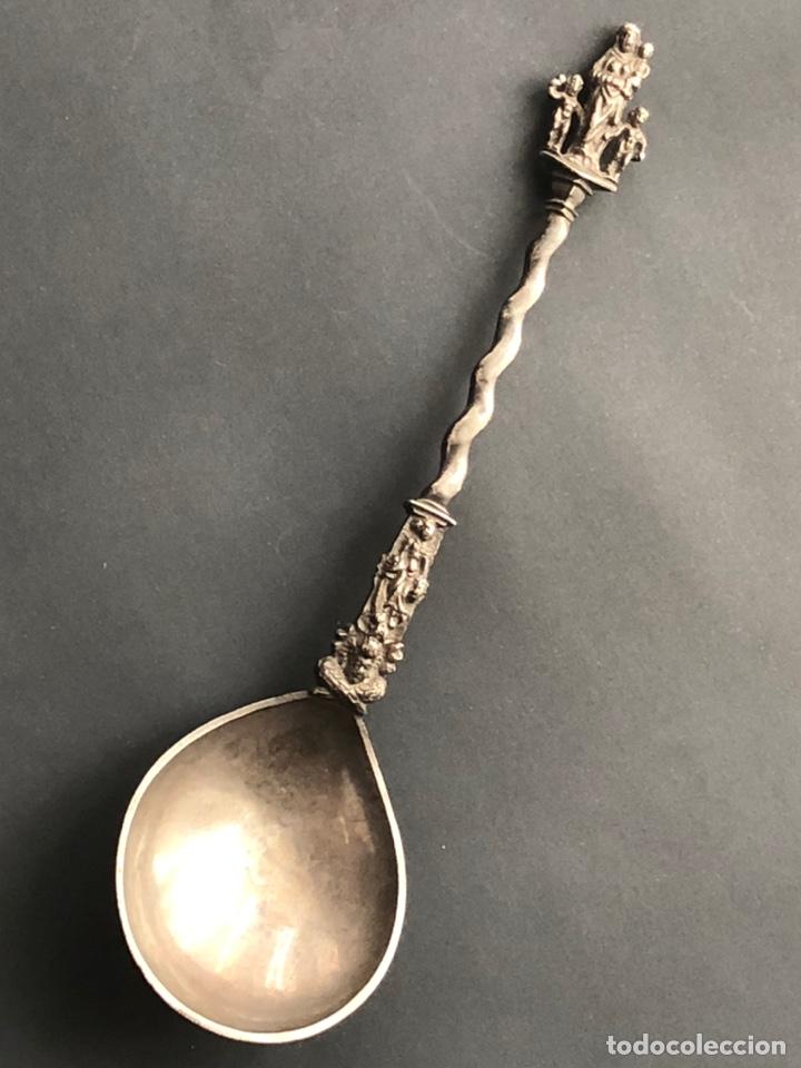 Antigüedades: Preciosa cuchara litúrgica de plata del siglo XVII con contrastes sellos de autor ¡Ver fotos! - Foto 18 - 192627192