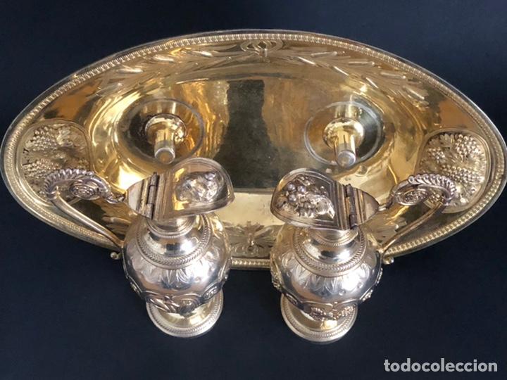 Antigüedades: Preciosas vinajeras de plata sobredorada del siglo XIX con sello del maestro orfebre Alexis Renaud - Foto 28 - 192632083