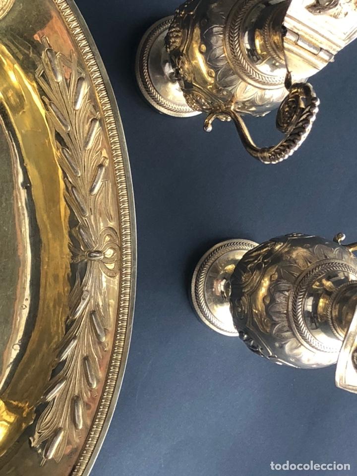 Antigüedades: Preciosas vinajeras de plata sobredorada del siglo XIX con sello del maestro orfebre Alexis Renaud - Foto 31 - 192632083