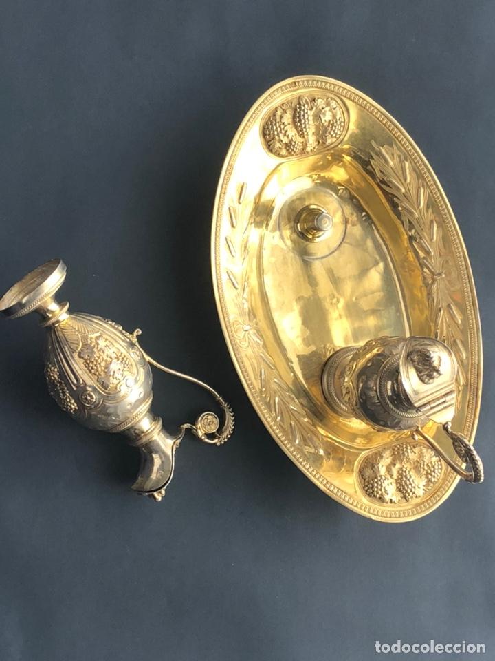 Antigüedades: Preciosas vinajeras de plata sobredorada del siglo XIX con sello del maestro orfebre Alexis Renaud - Foto 44 - 192632083