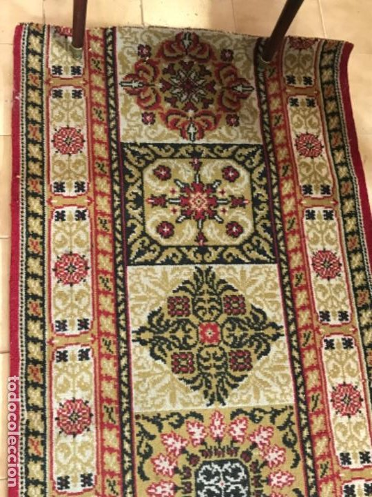 Antigüedades: Antigua alfombra para pasillo lana motivos geometricos persa rojo 2,15x 69,5 cmaños 50 - Foto 3 - 192647721