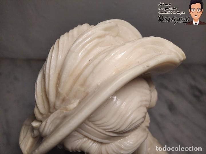 Antigüedades: BUSTO MUJER DE ÉPOCA SÍMIL DE MÁRMOL CON BASE DE MÁRMOL ROSA (25 CM) - Foto 11 - 192666587