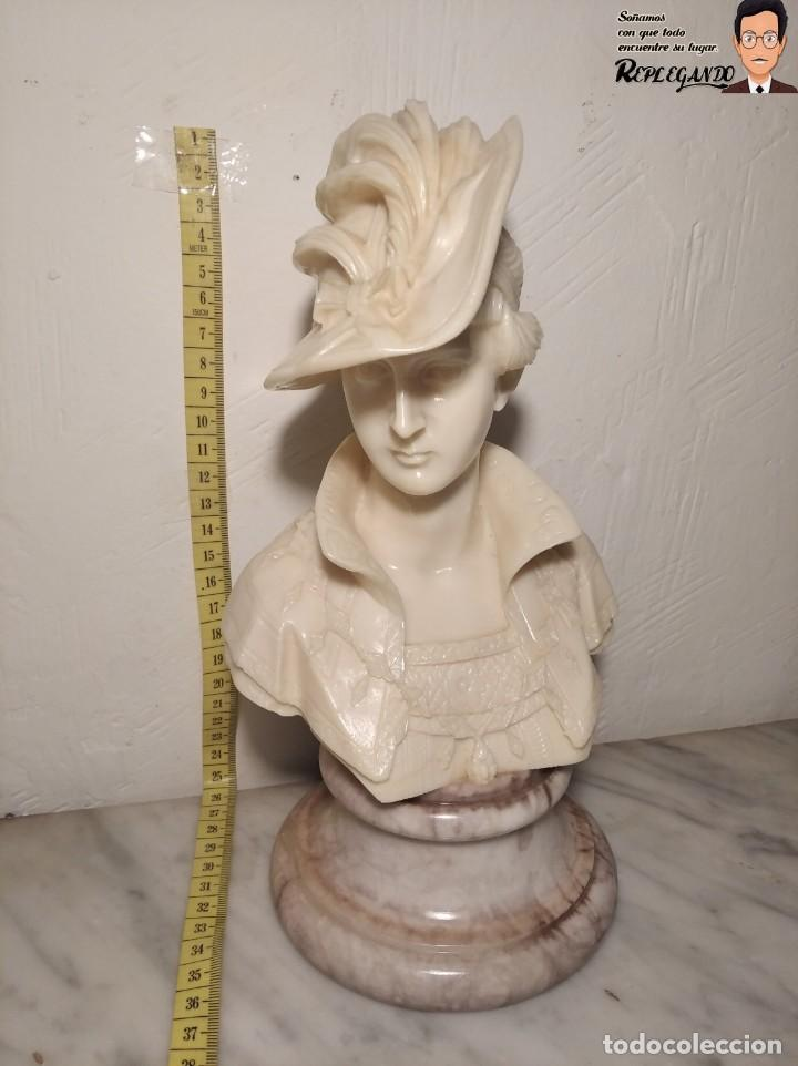 Antigüedades: BUSTO MUJER DE ÉPOCA SÍMIL DE MÁRMOL CON BASE DE MÁRMOL ROSA (25 CM) - Foto 15 - 192666587