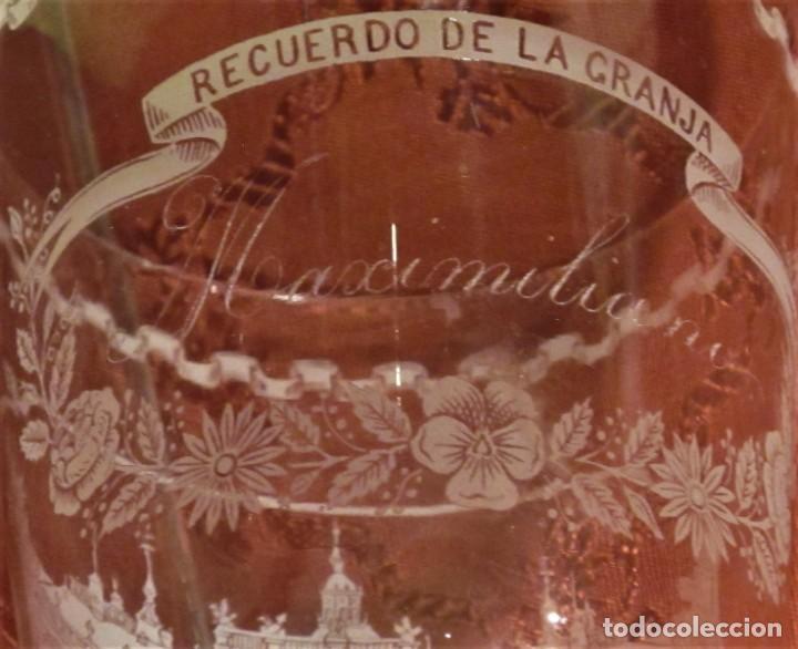 Antigüedades: COPA DE CRISTAL DE LA GRANJA GRABADO AL ÁCIDO EL PALACIO DESDE LA CASCADA - Foto 6 - 192670155