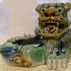 Antigüedades: LEON DE BUDA O LEON FU CENICERO CERAMICA VIDRIADA. Lote 207024318