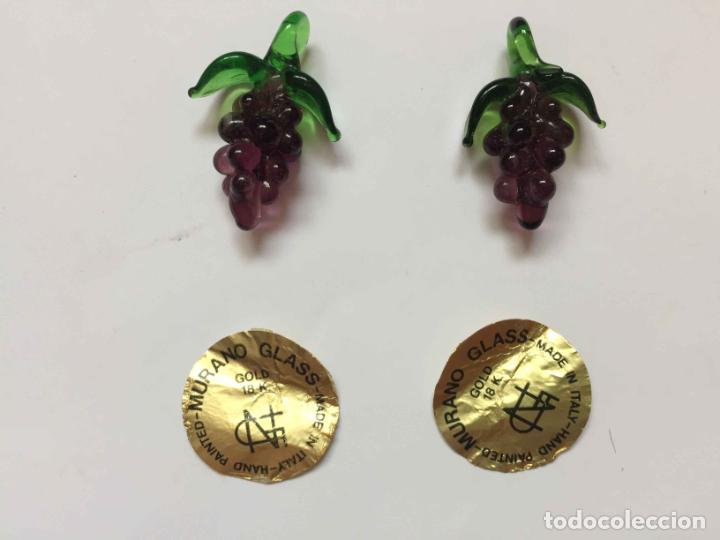 Antigüedades: 2 Racimos de uvas (cristal MURANO, Italia, 1960's) Colgante 3 cms. Originales. Coleccionista - Foto 3 - 192683351