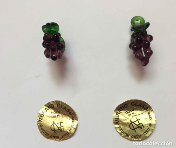 Antigüedades: 2 Racimos de uvas (cristal MURANO, Italia, 1960's) Colgante 3 cms. Originales. Coleccionista - Foto 6 - 192683351
