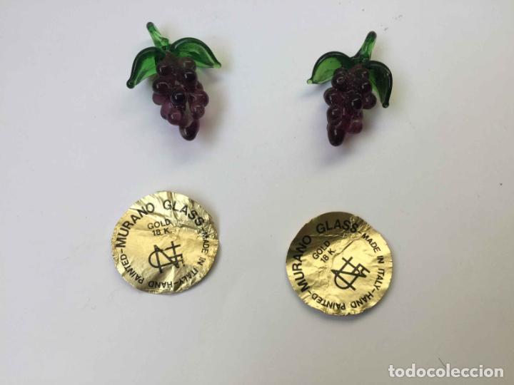 Antigüedades: 2 Racimos de uvas (cristal MURANO, Italia, 1960's) Colgante 3 cms. Originales. Coleccionista - Foto 7 - 192683351