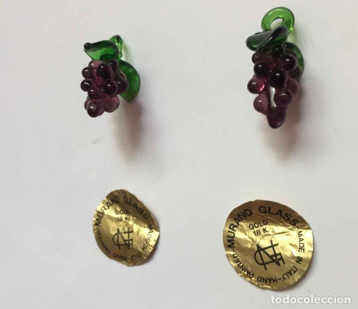 Antigüedades: 2 Racimos de uvas (cristal MURANO, Italia, 1960's) Colgante 3 cms. Originales. Coleccionista - Foto 8 - 192683351