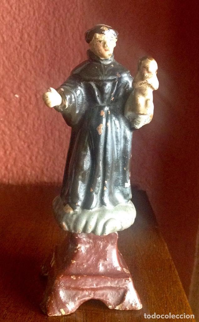 ANTIGUO SAN ANTONIO DE BARRO DE 14 CM. DE ALTURA (Antigüedades - Religiosas - Artículos Religiosos para Liturgias Antiguas)