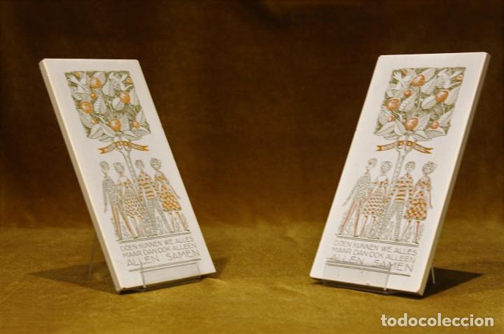 DOS AZULEJOS DE CERÁMICA HOLANDESA,DIMENSIONES 10 X 20 CM (Antigüedades - Porcelana y Cerámica - Holandesa - Delft)