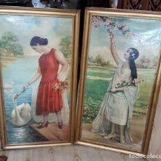 Antigüedades: ANTIGUA Y PRECIOSA PAREJA DE MARCOS CON LAMINAS DE SEÑORITAS ART DECO 1930 DORADOD. Lote 192793521