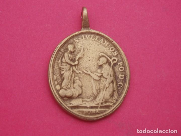 Antigüedades: Medalla Siglo XVIII Virgen del Sagrario de Cuenca y San Julián. Muy Rara. - Foto 2 - 192829163