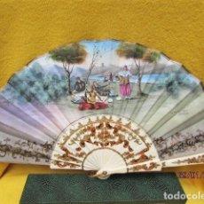 Antigüedades: ABANICO PINTADO A MANO, VARILLAJE DE HUESO TALLADO FIRMADO COLOMINA.. Lote 192842236