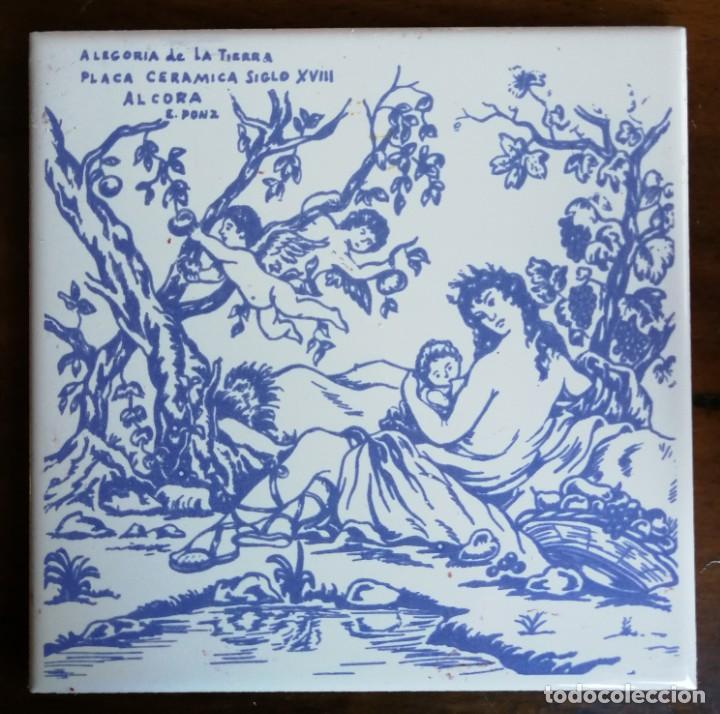 PLACA CERÁMICA DE ALCORA ( CASTELLON ) DIBUJO ALEGORÍA DE LA TIERRA. ARTISTA EUGENIO PONZ. AZULEJO. (Antigüedades - Porcelanas y Cerámicas - Alcora)