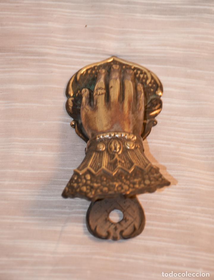 Antigüedades: MANO DE BRONCE PISAPAPELES DE ESCRITORIO - Foto 5 - 192950852