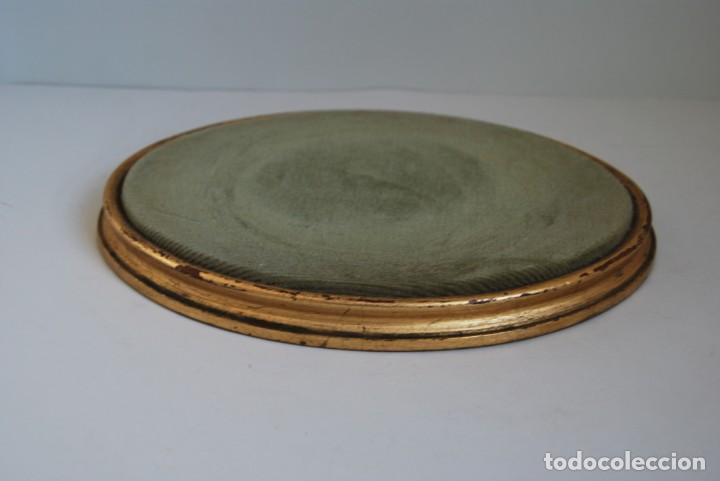 Antigüedades: ANTIGUA PEANA DE MADERA - TERCIOPELO VERDE - PEDESTAL - BASE - PIE - Foto 6 - 192953778