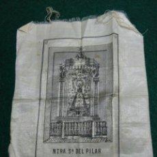 Antigüedades: PAÑUELO DE SEDA ANTIGUO VIRGEN DEL PILAR SIGLO XIX. Lote 192956837