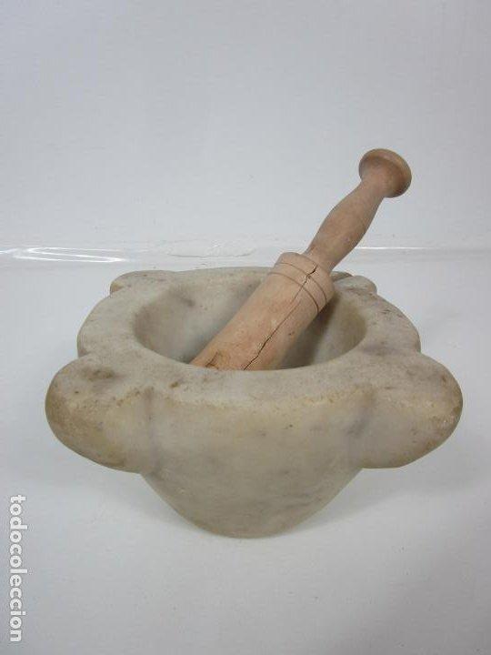 Antigüedades: Antiguo Mortero de Mármol - con Maza de Madera - S. XIX - Foto 2 - 192962935