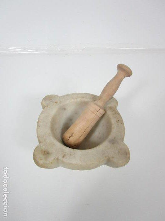 Antigüedades: Antiguo Mortero de Mármol - con Maza de Madera - S. XIX - Foto 3 - 192962935
