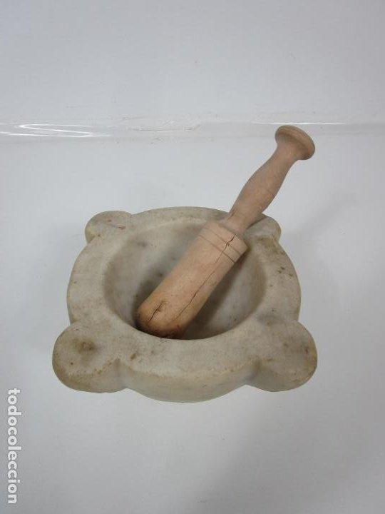Antigüedades: Antiguo Mortero de Mármol - con Maza de Madera - S. XIX - Foto 12 - 192962935