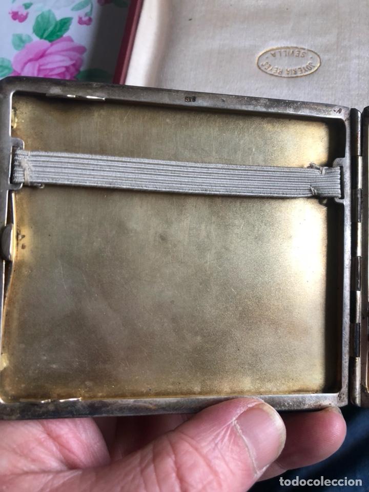 Antigüedades: Bonita pitillera el plata de ley, con su estuche - Foto 3 - 192966267