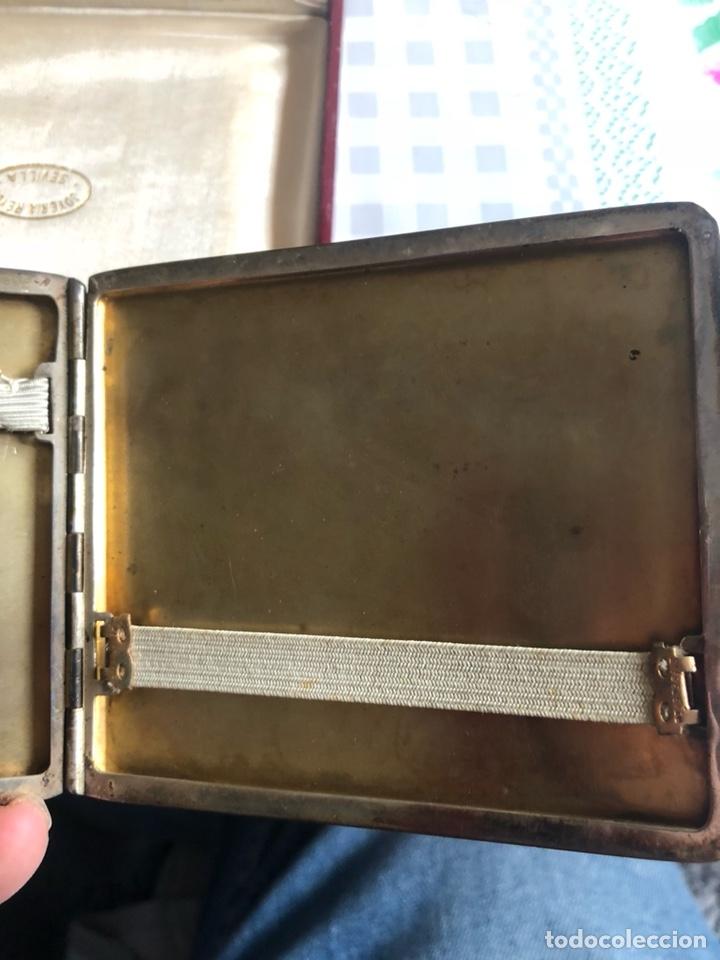 Antigüedades: Bonita pitillera el plata de ley, con su estuche - Foto 4 - 192966267