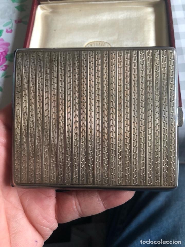 Antigüedades: Bonita pitillera el plata de ley, con su estuche - Foto 5 - 192966267