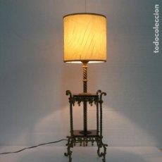 Antigüedades: MARAVILLOSA Y RARISIMA LAMPARA EN BONCE DORADO Y MADERA. Lote 192976303