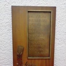 Antigüedades: TABLA DE MADERA CON ORACIÓN, PARA COLGAR. MEDIDAS 38X21CM. Lote 192986055