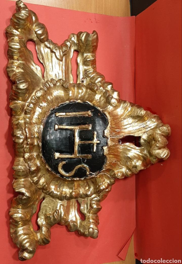 Antigüedades: PRECIOSA CARTELA JHS MADERA TALLADA Y DORADA EN ORO FINO. SIGLO XVII. - Foto 4 - 193004407