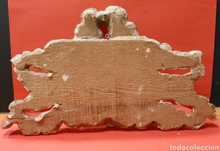 Antigüedades: PRECIOSA CARTELA JHS MADERA TALLADA Y DORADA EN ORO FINO. SIGLO XVII. - Foto 5 - 193004407