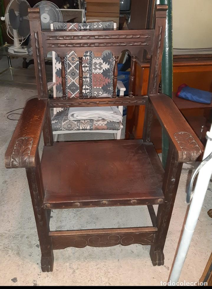 Antigüedades: ANTIGUO SILLON FRAILERO GRABADO - Foto 2 - 193039075