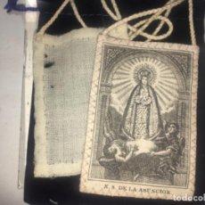 Antigüedades: ANTIGUO ESCAPULARIO DE LA VIRGEN DE LA ASUNCIÓN ORIGINAL DEL SIGLO XIX. Lote 193076323