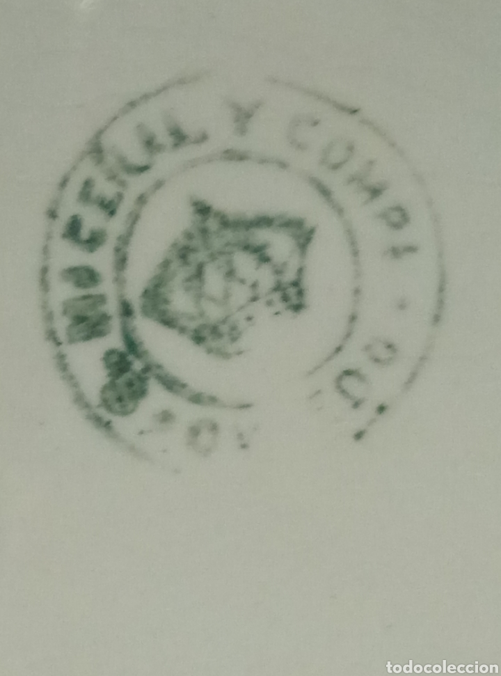 Antigüedades: Fuente bandeja porcelana loza blanca Ceñal y Comp Oviedo 1 época - Foto 5 - 193082270