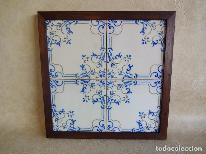 CUADRO CON 4 AZULEJOS BALDOSAS MODERNISTAS ENMARCADAS (Antigüedades - Porcelanas y Cerámicas - Azulejos)