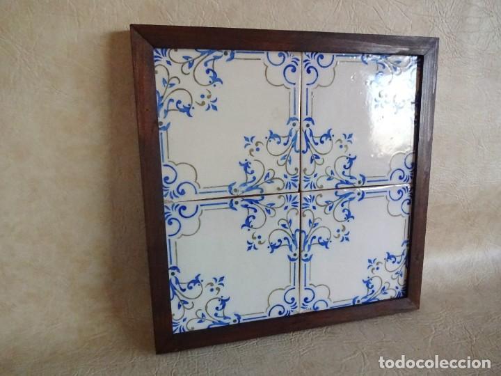 Antigüedades: cuadro con 4 azulejos baldosas modernistas enmarcadas - Foto 2 - 57918780