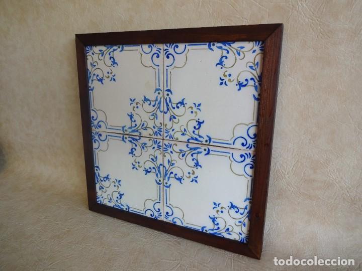Antigüedades: cuadro con 4 azulejos baldosas modernistas enmarcadas - Foto 3 - 57918780