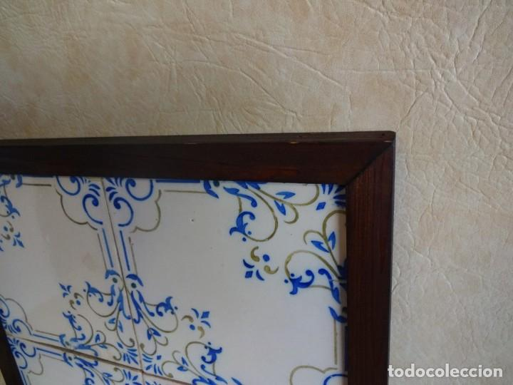 Antigüedades: cuadro con 4 azulejos baldosas modernistas enmarcadas - Foto 5 - 57918780