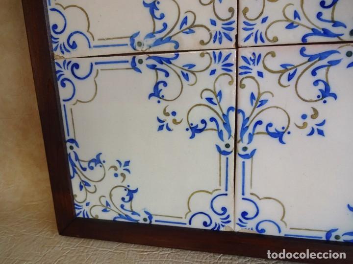 Antigüedades: cuadro con 4 azulejos baldosas modernistas enmarcadas - Foto 6 - 57918780