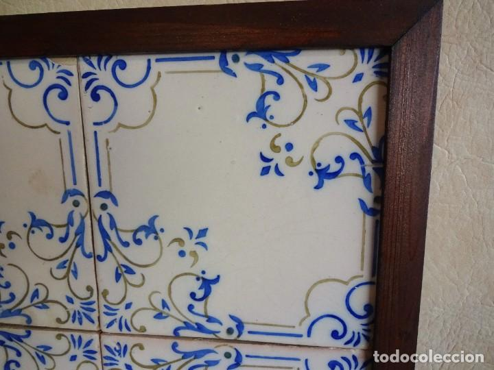 Antigüedades: cuadro con 4 azulejos baldosas modernistas enmarcadas - Foto 7 - 57918780