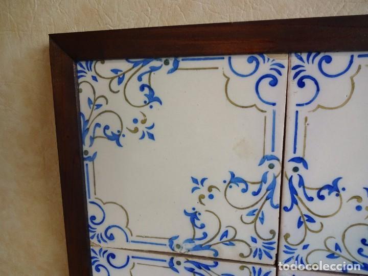 Antigüedades: cuadro con 4 azulejos baldosas modernistas enmarcadas - Foto 8 - 57918780