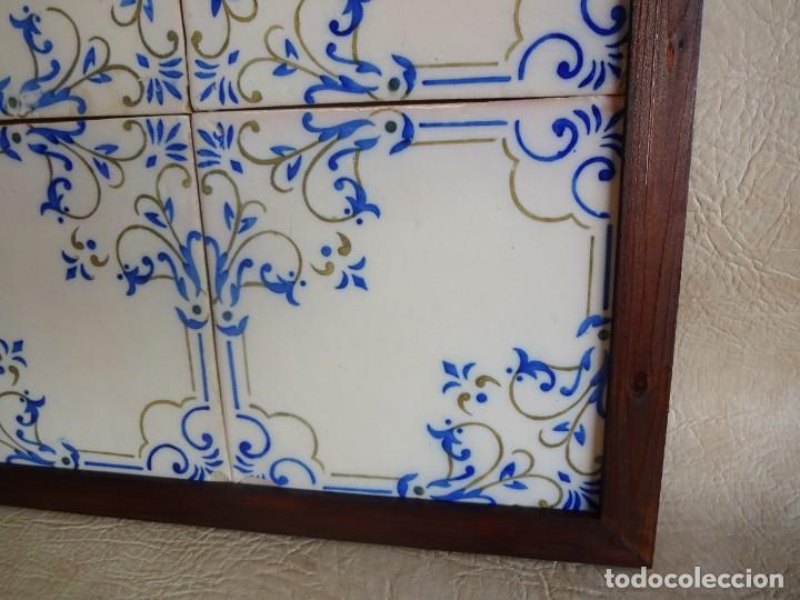 Antigüedades: cuadro con 4 azulejos baldosas modernistas enmarcadas - Foto 4 - 57918780