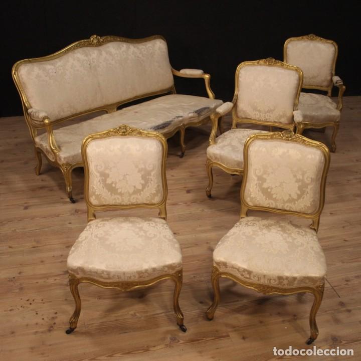 Antigüedades: Sofá francés dorado en estilo Luis XV - Foto 2 - 193216450
