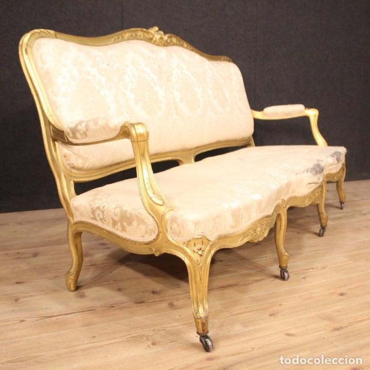 Antigüedades: Sofá francés dorado en estilo Luis XV - Foto 4 - 193216450